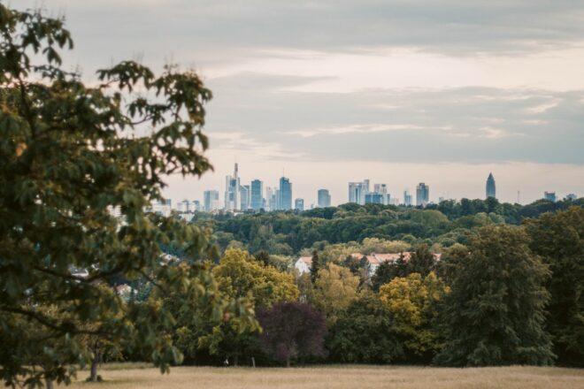 Parks Frankfurt Blick vom Lohrpark auf die Frankfurter Skyline
